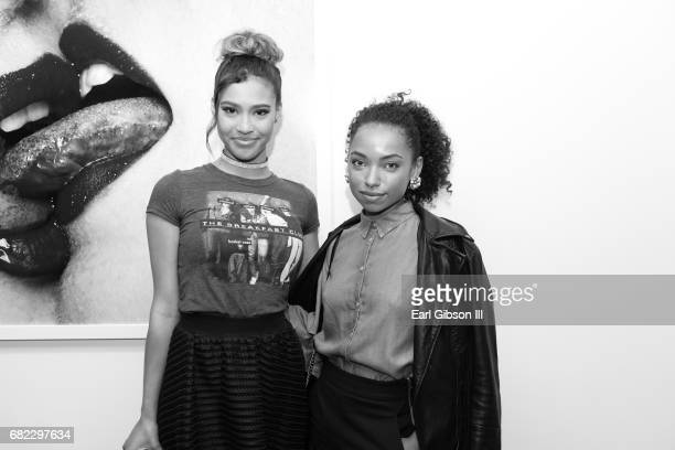 Actress Kara Royster and actress Logan Browning attend Tyler Shields 'Provocateur' Opening at Leica Store and Gallery Los Angeles on May 11 2017 in...