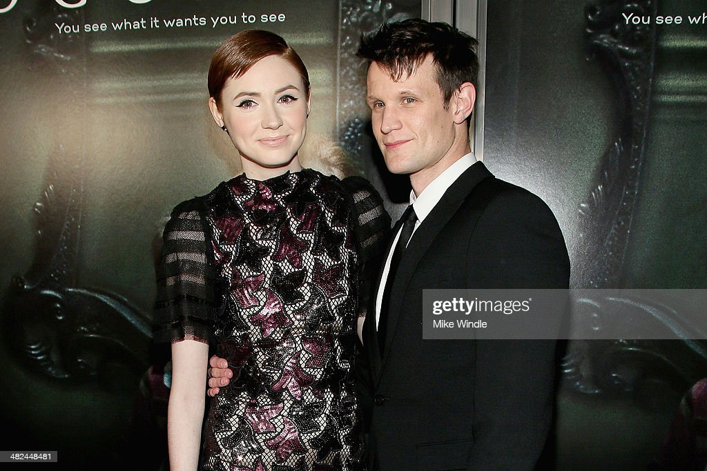 Actress <a gi-track='captionPersonalityLinkClicked' href=/galleries/search?phrase=Karen+Gillan&family=editorial&specificpeople=6876471 ng-click='$event.stopPropagation()'>Karen Gillan</a> (L) and actor <a gi-track='captionPersonalityLinkClicked' href=/galleries/search?phrase=Matt+Smith+-+Actor&family=editorial&specificpeople=6877373 ng-click='$event.stopPropagation()'>Matt Smith</a> arrive at the screening of Relativity Media's 'Oculus' at TLC Chinese 6 Theatres on April 3, 2014 in Hollywood, California.