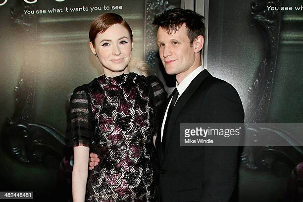 Actress Karen Gillan and actor Matt Smith arrive at the screening of Relativity Media's 'Oculus' at TLC Chinese 6 Theatres on April 3 2014 in...