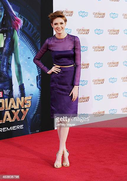Actress Karen Gillan arrives at the Los Angeles premiere of Marvel's 'Guardians Of The Galaxy' at the El Capitan Theatre on July 21 2014 in Hollywood...