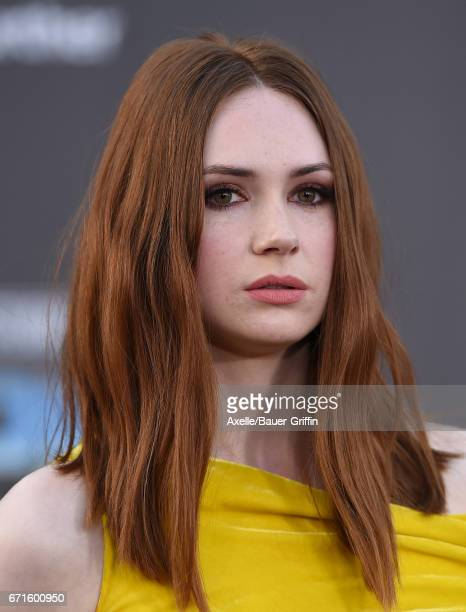 Actress Karen Gillan arrives at the premiere of Disney and Marvel's 'Guardians of the Galaxy Vol 2' at Dolby Theatre on April 19 2017 in Hollywood...