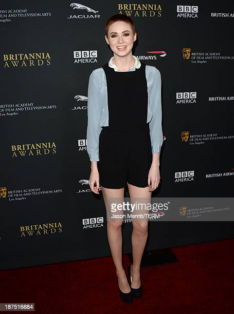 Actress Karen Gillan attends the 2013 BAFTA LA Jaguar Britannia Awards presented by BBC America at The Beverly Hilton Hotel on November 9 2013 in...