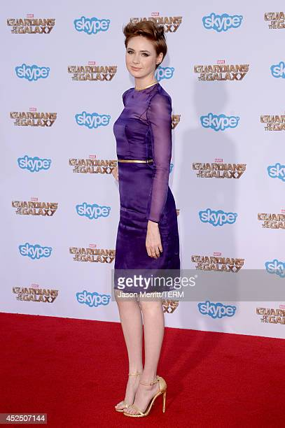 Actress Karen Gillan attends the premiere of Marvel's 'Guardians Of The Galaxy' at the Dolby Theatre on July 21 2014 in Hollywood California