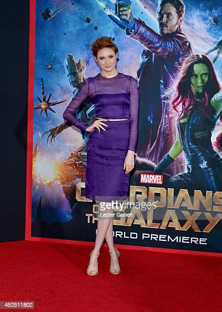 Actress Karen Gillan attends the premiere of Marvel's 'Guardians Of The Galaxy' at the El Capitan Theatre on July 21 2014 in Hollywood California