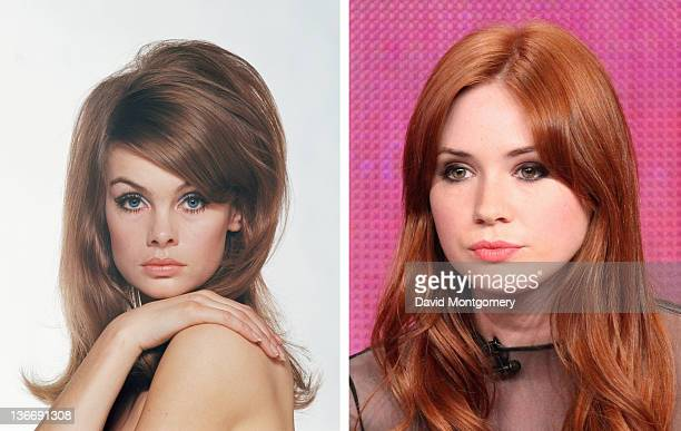 In this composite image a comparison has been made between and actress Karen Gillan The film biopic 'We'll Take Manhattan' airing in 2012 in January...