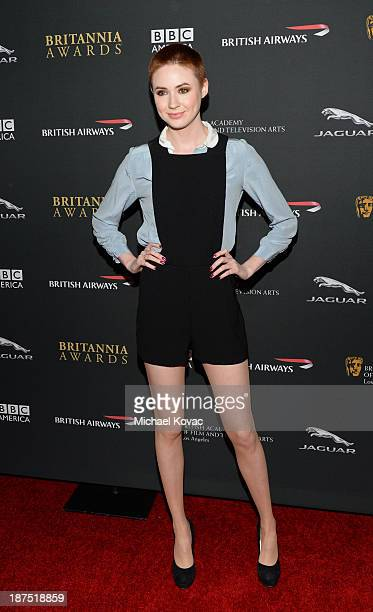Actress Karen Gillan with Stylebopcom attends the 2013 BAFTA LA Jaguar Britannia Awards presented by BBC America at The Beverly Hilton Hotel on...