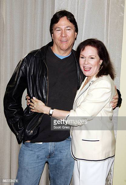 Actress Karen Lynn Gorney and actor Richard Hatch pose for a photo at the 10th Annual Big Apple National Comic Book Toy SciFi Expo at Penn Plaza...