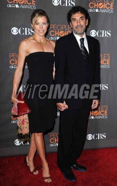 Actress Karen Witter and producer Chuck Lorre arrives at the