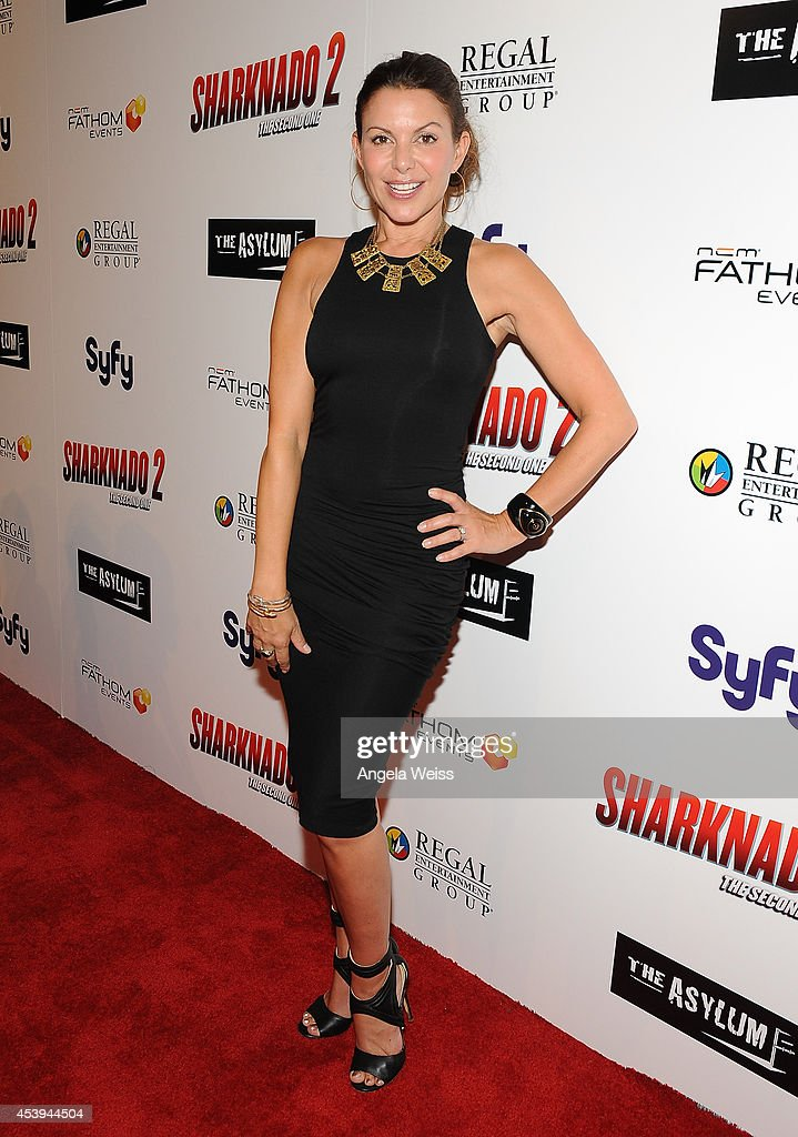 Actress <a gi-track='captionPersonalityLinkClicked' href=/galleries/search?phrase=Kari+Wuhrer&family=editorial&specificpeople=1278535 ng-click='$event.stopPropagation()'>Kari Wuhrer</a> attends the premiere of The Asylum & Fathom Events' 'Sharknado 2: The Second One' at Regal Cinemas L.A. Live on August 21, 2014 in Los Angeles, California.