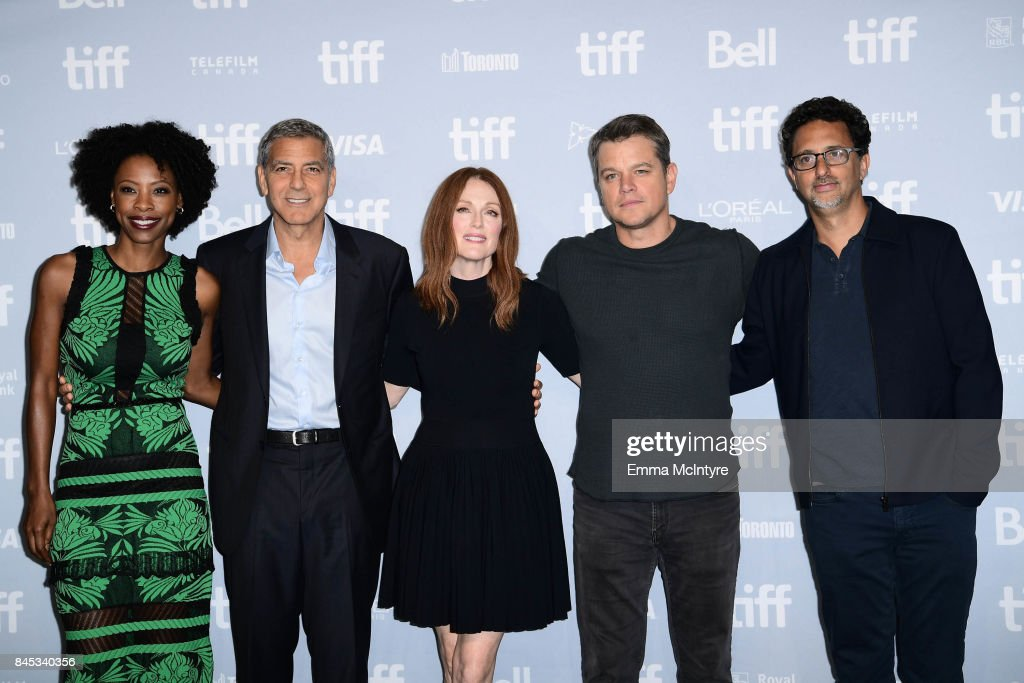 Actress Karimah Westbrook, writer/director/producer George Clooney, actors Julianne Moore, Matt Damon and writer/producer Grant Heslov at the 'Suburbicon' press conference during the 2017 Toronto International Film Festival held at TIFF Bell Lightbox on September 10, 2017 in Toronto, Canada.