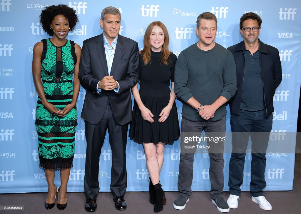Actress Karimah Westbrook, writer/director/producer George Clooney, actors Julianne Moore, Matt Damon and writer/producer Grant Heslov attend the 'Suburbicon' press conference during the 2017 Toronto International Film Festival at TIFF Bell Lightbox on September 10, 2017 in Toronto, Canada.