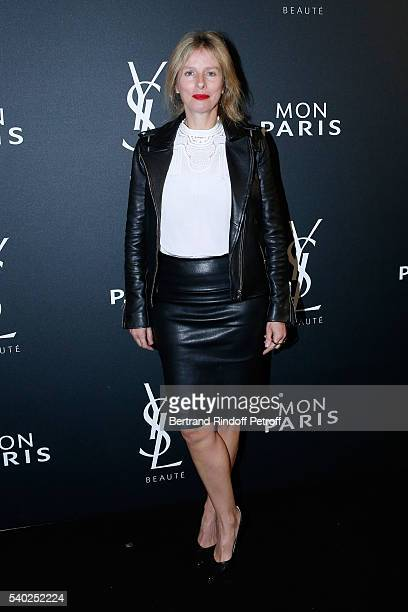 Actress Karin Viard attends YSL Beauty launches the new Fragrance 'Mon Paris' at Cafe Le Georges on June 14 2016 in Paris France