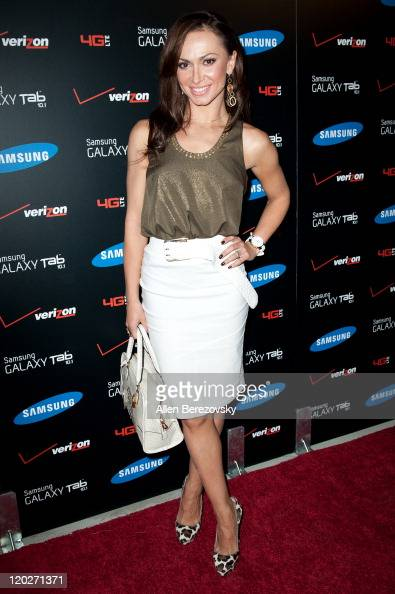 Actress Karina Smirnoff arrives at the Samsung Galaxy Tab 101 launch party at The Beverly on August 2 2011 in Los Angeles California
