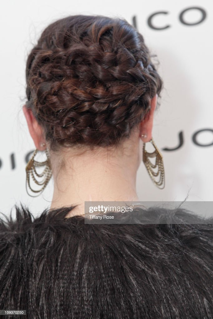 Actress Karina Smirnoff (hair detail) attends the Colgate Optic White beauty bar - Day 2 at Salon 901 on January 12, 2013 in West Hollywood, California.