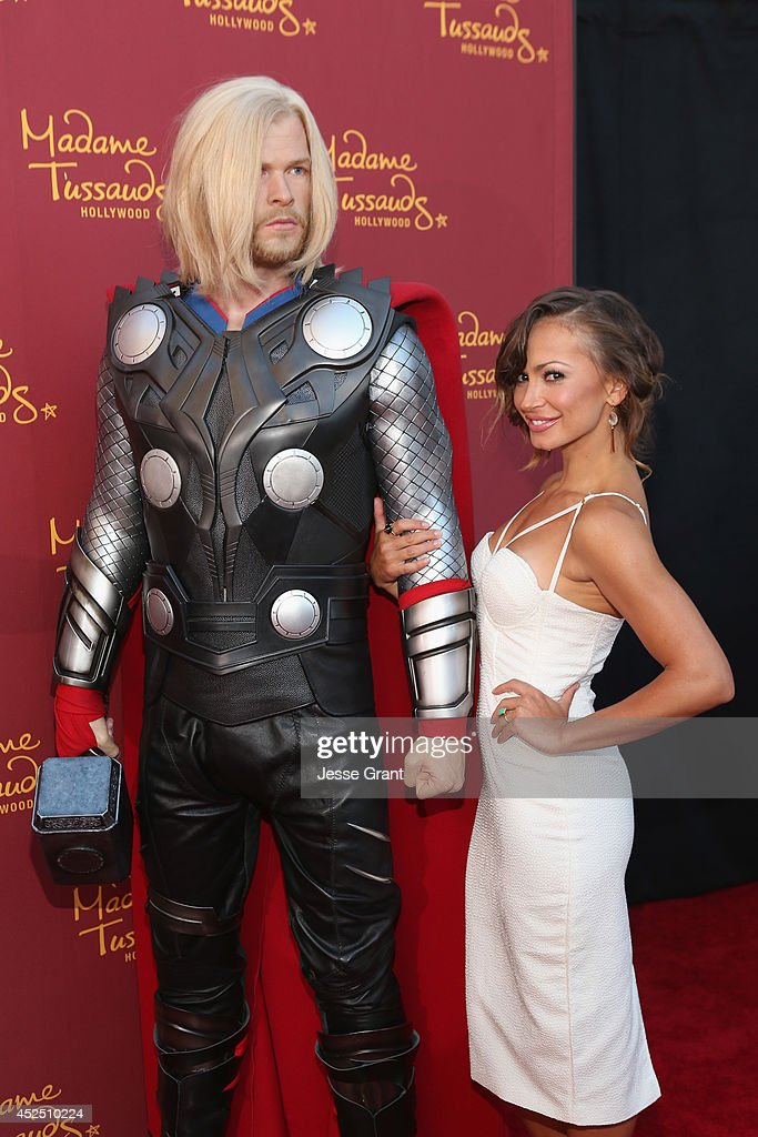Actress Karina Smirnoff poses alongside a Madame Tussauds Hollywood MARVEL wax figure during the 'Guardians of The Galaxy' premiere at the Dolby Theatre on July 21, 2014 in Hollywood, California.