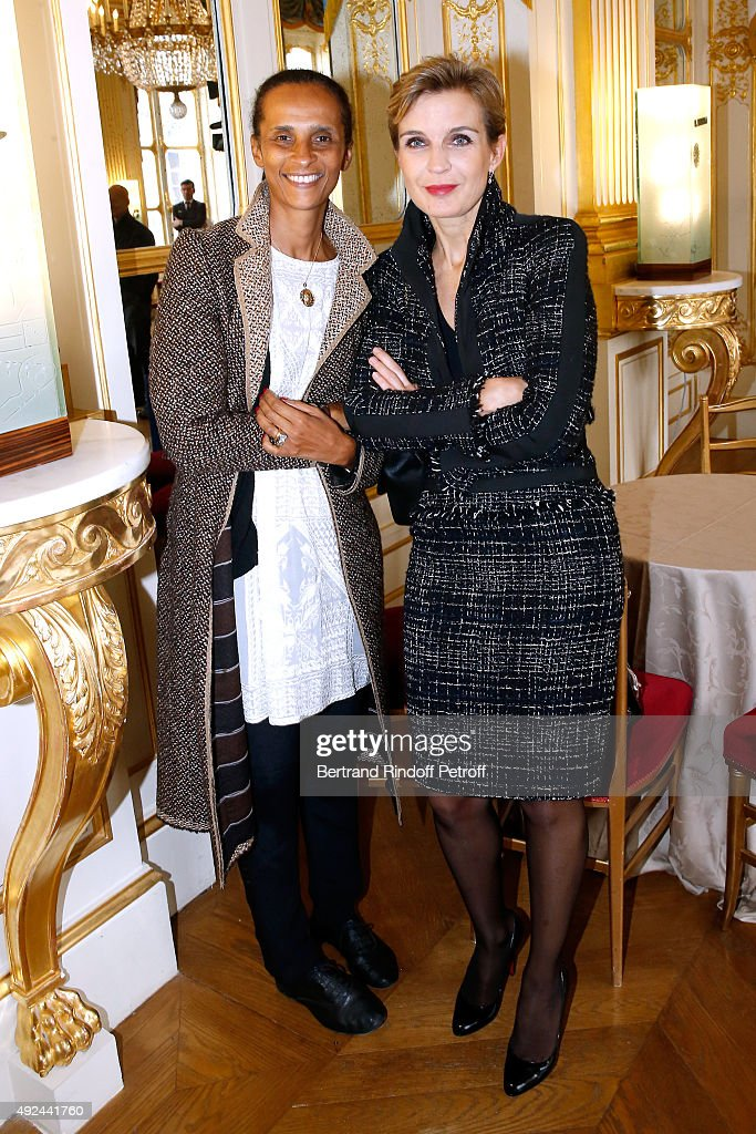 Actress Karine Silla and Melita Toscan du Plantier attend Actor Harvey Keitel receives the Medal of Commander of Arts and Letters at Ministere de la Culture on October 13, 2015 in Paris, France.