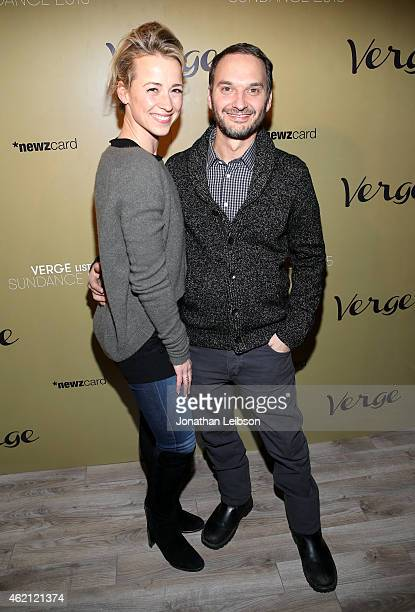 Actress Karine Vanasse and celebrity photographer Jeff Vespa attend the Verge Sundance 2015 Party at WireImage Studio on January 24 2015 in Park City...