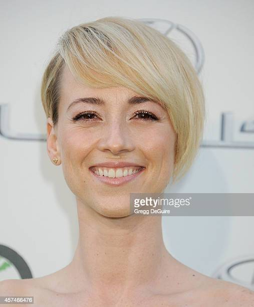 Actress Karine Vanasse arrives at the 2014 Environmental Media Awards at Warner Bros Studios on October 18 2014 in Burbank California