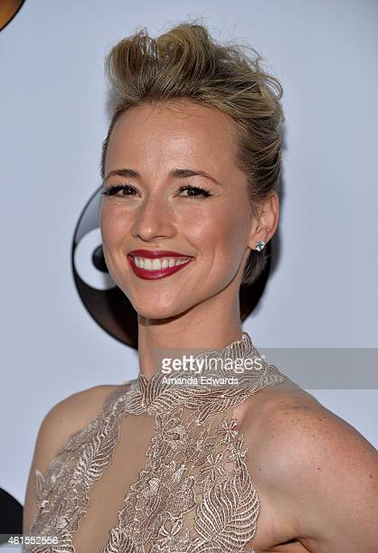Actress Karine Vanasse arrives at the ABC TCA 'Winter Press Tour 2015' Red Carpet on January 14 2015 in Pasadena California
