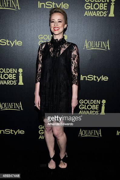 Actress Karine Vanasse arrives at The Hollywood Foreign Press Association and InStyle's 2015 Golden Globe Award Season celebration at Fig Olive...