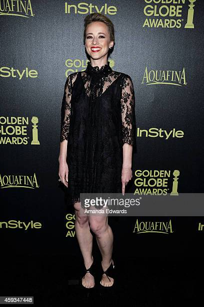 Actress Karine Vanasse arrives at The Hollywood Foreign Press Association and InStyle's 2015 Golden Globe Award Season celebration at Fig Olive...