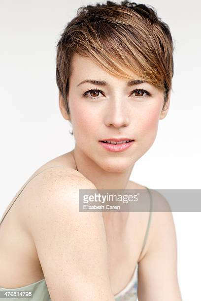 Actress Karine Vanasse is photographed for Self Assignment on November 13 2013 in Beverly Hills California
