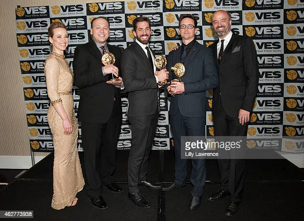 Actress Karine Vanasse Visual Effects award winners Colin Eckart John Kahwaty Zach Parrish and Zack Petroc and actor Scott Adsit attend The 13th...