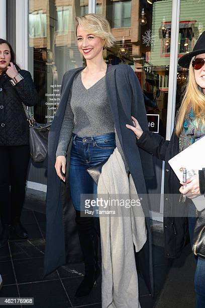 Actress Karine Vanasse walks in Park City on January 25 2015 in Park City Utah