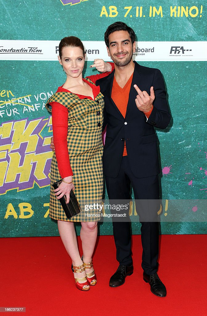 ÊActress <a gi-track='captionPersonalityLinkClicked' href=/galleries/search?phrase=Karoline+Herfurth&family=editorial&specificpeople=636213 ng-click='$event.stopPropagation()'>Karoline Herfurth</a> and Elyas M'Baraek attend the premiere of the film 'Fack Ju Goehte' on October 29, 2013 in Munich, Germany.