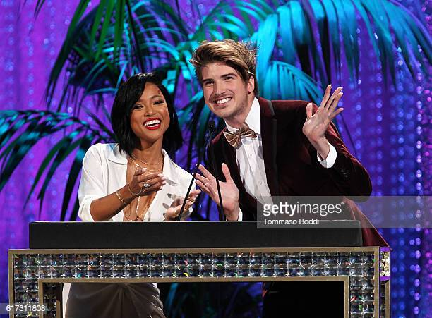 Actress Karrueche Tran and internet personality Joey Graceffa speak onstage during the Environmental Media Association 26th Annual EMA Awards...