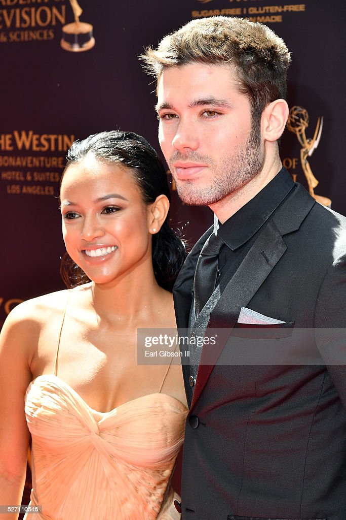 Actress <a gi-track='captionPersonalityLinkClicked' href=/galleries/search?phrase=Karrueche+Tran&family=editorial&specificpeople=9447374 ng-click='$event.stopPropagation()'>Karrueche Tran</a> (L) and television producer <a gi-track='captionPersonalityLinkClicked' href=/galleries/search?phrase=Kristos+Andrews&family=editorial&specificpeople=7810724 ng-click='$event.stopPropagation()'>Kristos Andrews</a> arrive at the 43rd Annual Daytime Emmy Awards at the Westin Bonaventure Hotel on May 1, 2016 in Los Angeles, California.