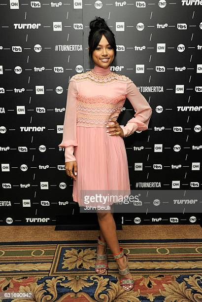 Actress Karrueche Tran of 'Claws' poses in the green room during the TCA Turner Winter Press Tour 2017 Presentation at The Langham Resort on January...