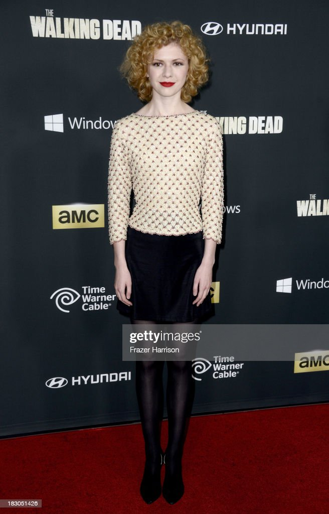 Actress Kasha Kropinski arrives at the premiere of AMC's 'The Walking Dead' 4th season at Universal CityWalk on October 3, 2013 in Universal City, California.