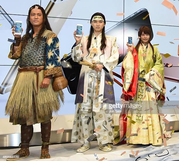 Actress Kasumi Arimura actors Shota Matsuda and Kenta Kiritani attend the news conference of launching iPhone 6s and 6s Plus at AU Shinjuku flagship...