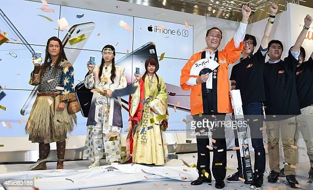 Actress Kasumi Arimura actors Shota Matsuda Kenta Kiritani and CEO of KDDI Takashi Tanaka attend the news conference of launching iPhone 6s and 6s...