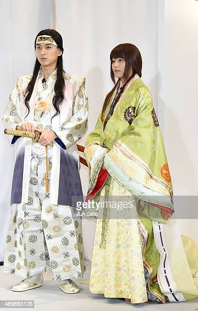 Actress Kasumi Arimura and actor Shota Matsuda attend the news conference of launching iPhone 6s and 6s Plus at AU Shinjuku flagship store on...