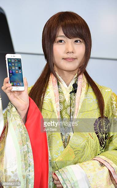 Actress Kasumi Arimura attends the news conference of launching iPhone 6s and 6s Plus at AU Shinjuku flagship store on September 25 2015 in Tokyo...