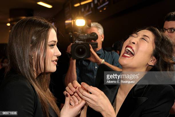 Actress Kat Dennings and actress Sandra Oh arrive at the premiere of Darius Films' 'Defendor' on February 22 2010 in Los Angeles California