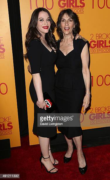 Actress Kat Dennings and mother Ellen Litwack attend the 100th episode celebration of CBS' '2 Broke Girls' at Mrs Fish on October 3 2015 in Los...