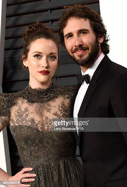 Actress Kat Dennings and recording artist Josh Groban attend the 2015 Vanity Fair Oscar Party hosted by Graydon Carter at the Wallis Annenberg Center...