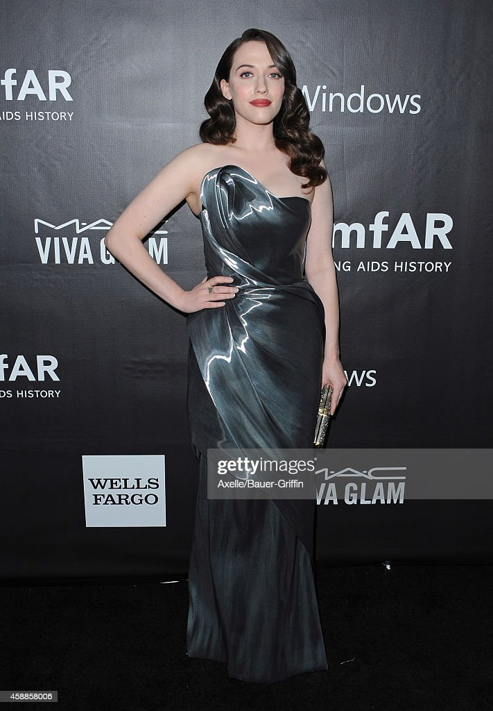 Actress <a gi-track='captionPersonalityLinkClicked' href=/galleries/search?phrase=Kat+Dennings&family=editorial&specificpeople=846118 ng-click='$event.stopPropagation()'>Kat Dennings</a> arrives at the 2014 amfAR LA Inspiration Gala at Milk Studios on October 29, 2014 in Hollywood, California.