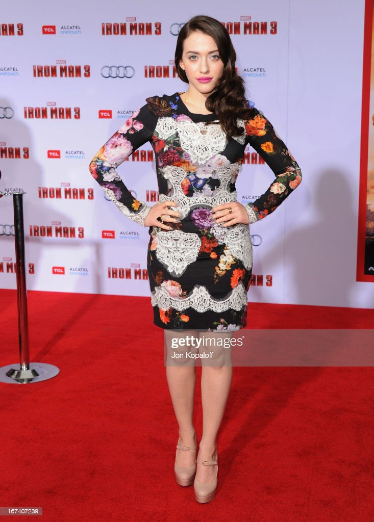 Actress Kat Dennings arrives at the Los Angeles Premiere 'Iron Man 3' at the El Capitan Theatre on April 24, 2013 in Hollywood, California.