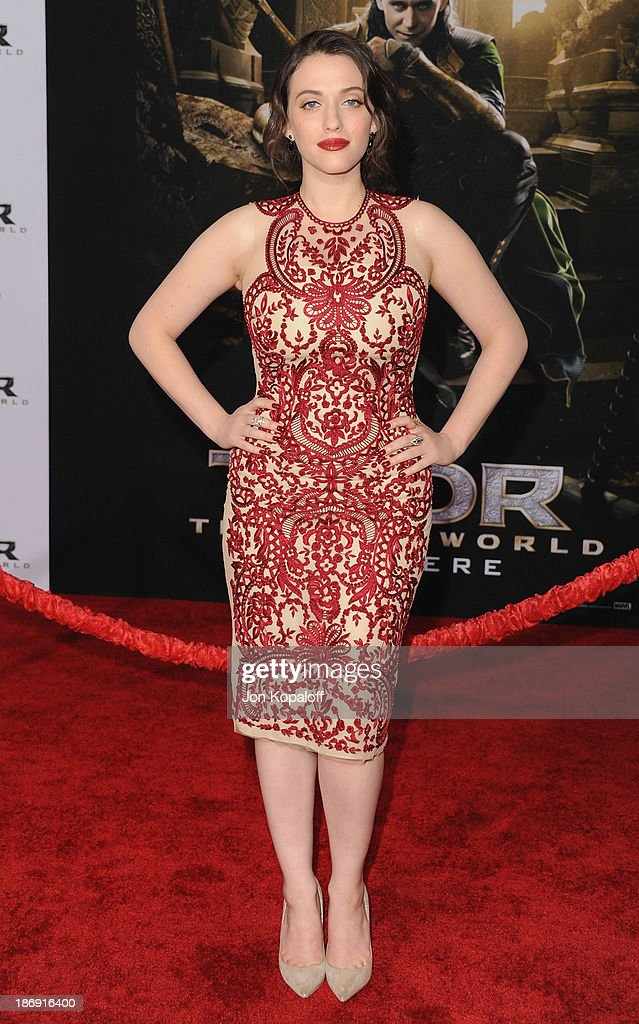 Actress <a gi-track='captionPersonalityLinkClicked' href=/galleries/search?phrase=Kat+Dennings&family=editorial&specificpeople=846118 ng-click='$event.stopPropagation()'>Kat Dennings</a> arrives at the Los Angeles Premiere 'Thor: The Dark World' at the El Capitan Theatre on November 4, 2013 in Hollywood, California.