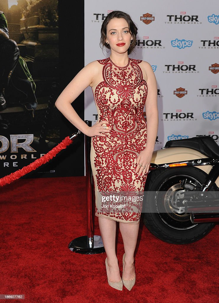 Actress Kat Dennings arrives at the Los Angeles Premiere 'Thor: The Dark World' at the El Capitan Theatre on November 4, 2013 in Hollywood, California.