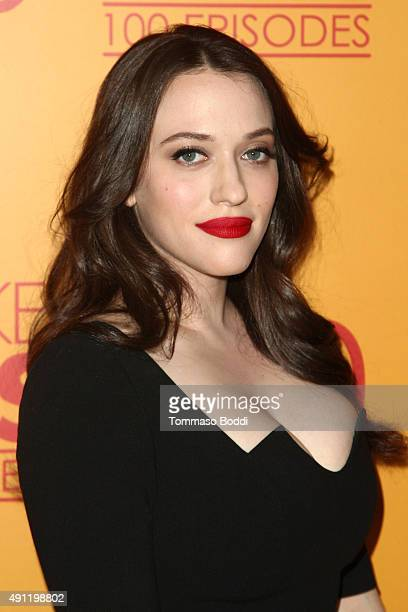 Actress Kat Dennings attends the 100th episode celebration of CBS' '2 Broke Girls' held at Mrs Fish on October 3 2015 in Los Angeles California
