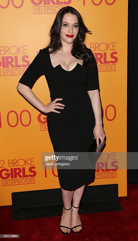 Actress <a gi-track='captionPersonalityLinkClicked' href=/galleries/search?phrase=Kat+Dennings&family=editorial&specificpeople=846118 ng-click='$event.stopPropagation()'>Kat Dennings</a> attends the 100th episode celebration of CBS' '2 Broke Girls' at Mrs. Fish on October 3, 2015 in Los Angeles, California.
