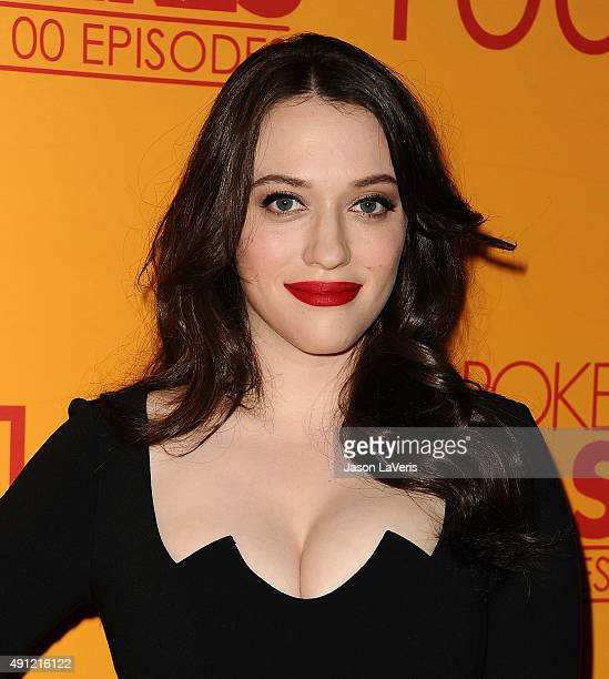 Actress Kat Dennings attends the 100th episode celebration of CBS' '2 Broke Girls' at Mrs Fish on October 3 2015 in Los Angeles California