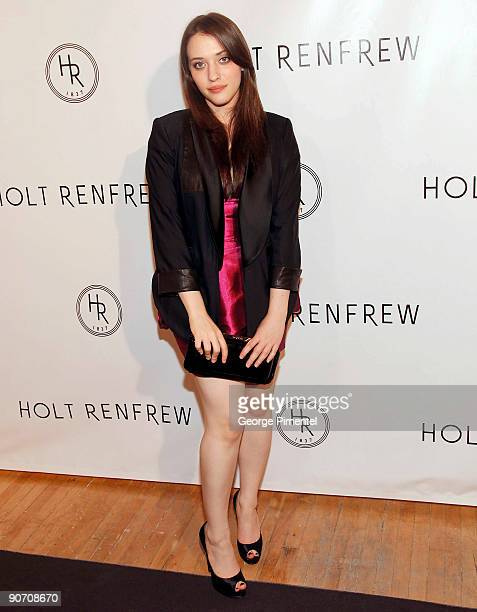 Actress Kat Dennings attends the Holt Renfrew Launch of Vignettes With Alexa Chung Coco Rocha And The Stills at Burroughes Building on September 12...