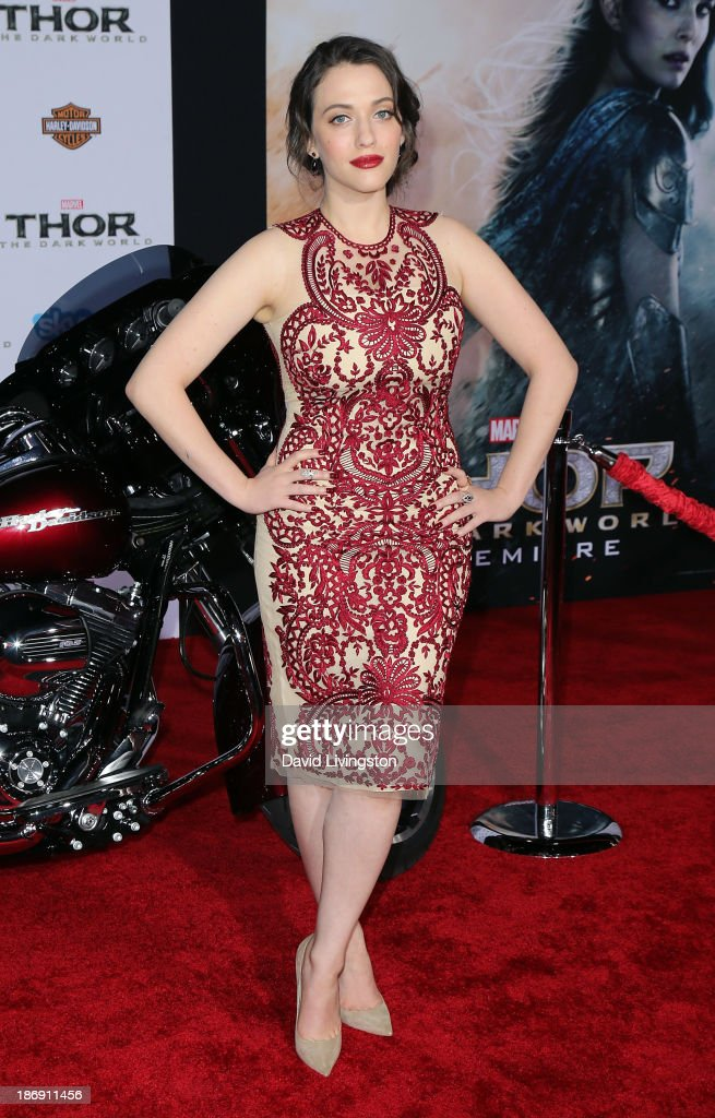 Actress <a gi-track='captionPersonalityLinkClicked' href=/galleries/search?phrase=Kat+Dennings&family=editorial&specificpeople=846118 ng-click='$event.stopPropagation()'>Kat Dennings</a> attends the premiere of Marvel's 'Thor: The Dark World' at the El Capitan Theatre on November 4, 2013 in Hollywood, California.