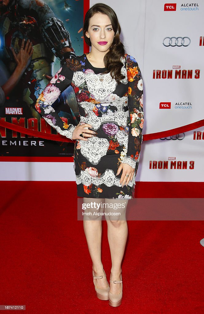 Actress Kat Dennings attends the premiere of Walt Disney Pictures' 'Iron Man 3' at the El Capitan Theatre on April 24, 2013 in Hollywood, California.
